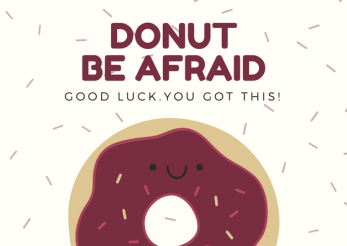 Cream and Pink Donut and Sprinkles Good Luck Card